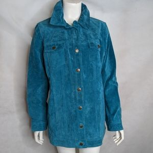 Teal Blue Suede Motto Jacket With Pockets Lined